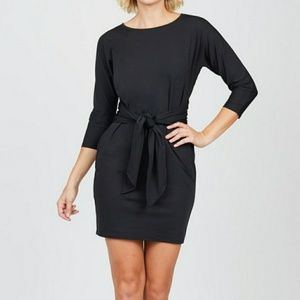 Black Tie Front Mini Dress